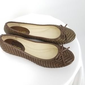 NWOB Kelly and Katie Woven Look Brown Ballet Flats